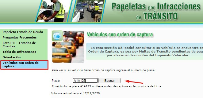Consultar orden de captura vehicular